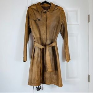 Gap tan leather belted trench car coat jacket